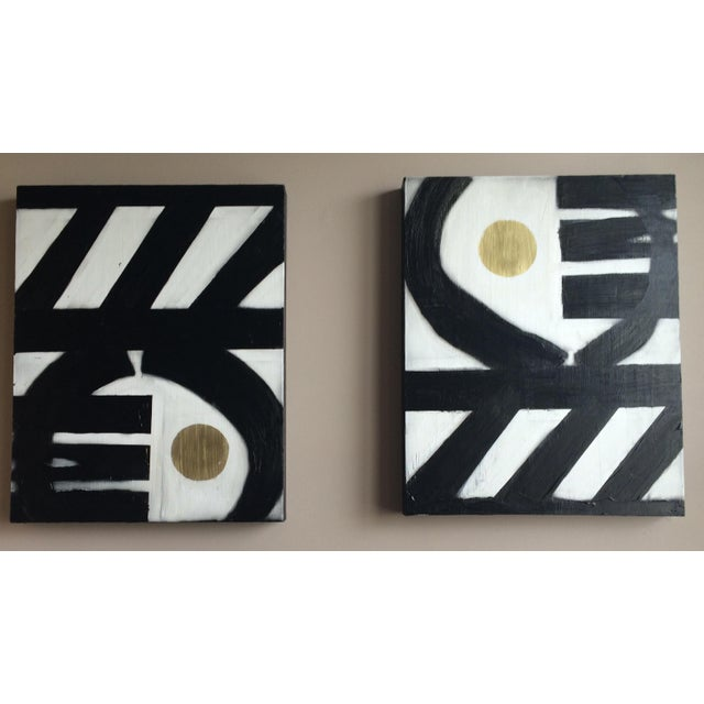 Black & White Geometric Acrylic Paintings - A Pair - Image 2 of 4