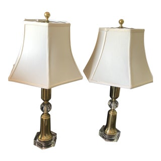 Vintage Crystal/Glass and Brass Lamps With Shades - a Pair For Sale