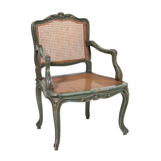 Wood Classic French Green Armchair For Sale - Image 7 of 7