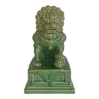 Vintage Green Ceramic Foo Dog Statue For Sale