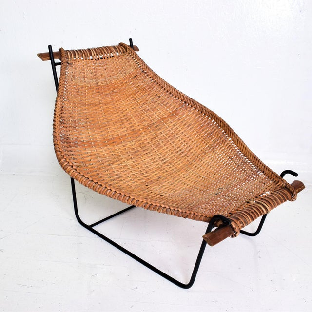 John Risley Wicker & Iron Chair, Mid Century Modern For Sale - Image 11 of 11
