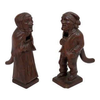 Antique Black Forest Hand Carved Wood Nut Crackers - a Pair For Sale