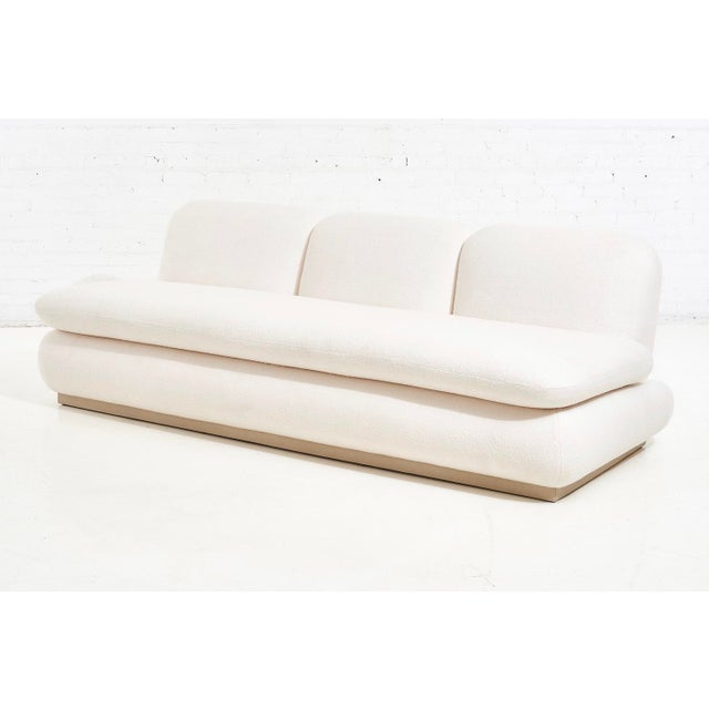 Modern Modern Drama White Boucle Pouf Sofa For Sale - Image 3 of 11