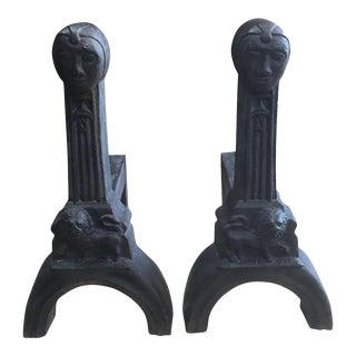 Antique Pair Arts & Crafts Style Figural Cast Iron Andirons For Sale