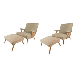 Vintage Modern Selig Lounge Chairs With Ottomans - a Pair