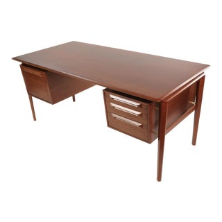 1950s Danish Modern Ib Kofod Larsen Executive Teak Tanker Desk For Sale