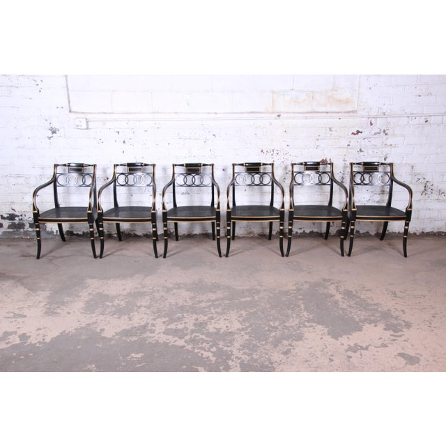 Late 20th Century Baker Furniture Ebonized and Gold Gilt Regency Style Armchairs-Set of Six For Sale - Image 5 of 13
