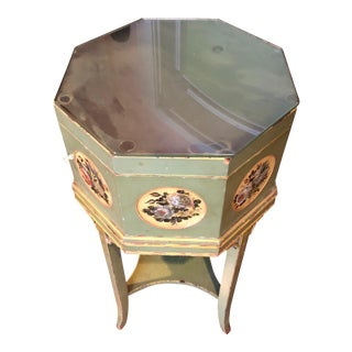 Octagon Shape End Table With Inside Compartment For Sale