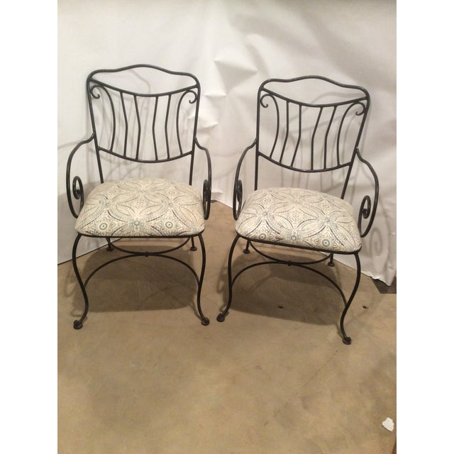 1970s Pair of Black Wrought Iron Garden Chairs For Sale - Image 5 of 5