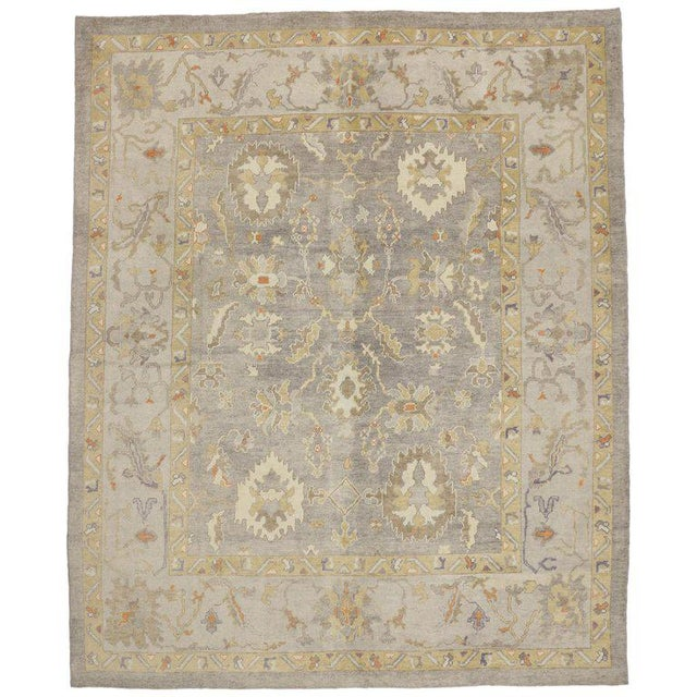 Taupe Contemporary Turkish Oushak Area Rug - 11′4″ × 13′10″ For Sale - Image 8 of 8