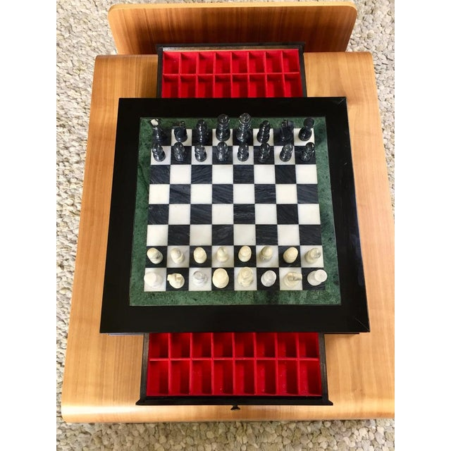 Vintage 70's Black Lacquer Box With Drawers and Inlay Marble Chess Board For Sale - Image 4 of 11