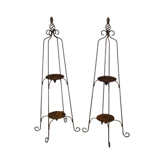 Vintage Wrought Iron Pair Garden 2 Tier Plant Stands For Sale