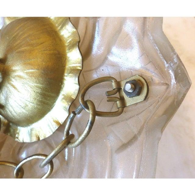 Art Deco Degue French Art Deco Cast Mauve Glass Pendant Chandelier, Signed, Circa 1930 For Sale - Image 3 of 13