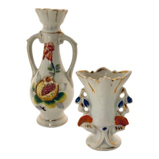 Vintage Hand Painted Porcelain Bud Vases - a Pair For Sale