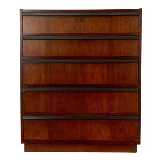 1960s Lane Brutalist Walnut and Ebonized High Chest For Sale