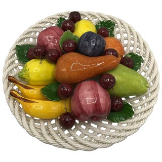 1960s Italian Ceramic Fruit Basket Sculpture For Sale