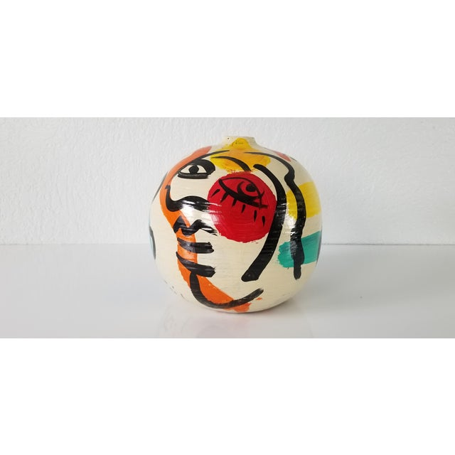 Orange Peter Keil Abstract Painted Colorful Vase For Sale - Image 8 of 8