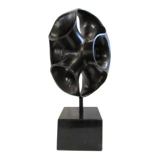 Abstract Metal and Stone Sculpture For Sale