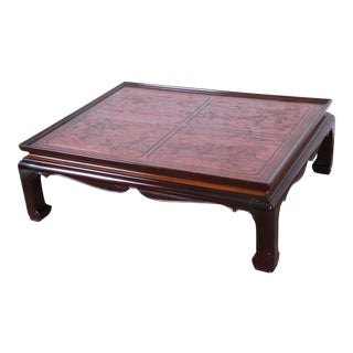 Drexel Heritage Carved Mahogany Hollywood Regency Chinoiserie Cocktail Table For Sale