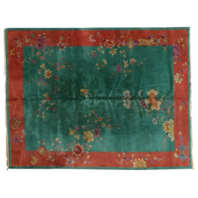 1920s Hand Made Antique Art Deco Chinese Rug - 8′10″ × 11′7″ For Sale - Image 9 of 9