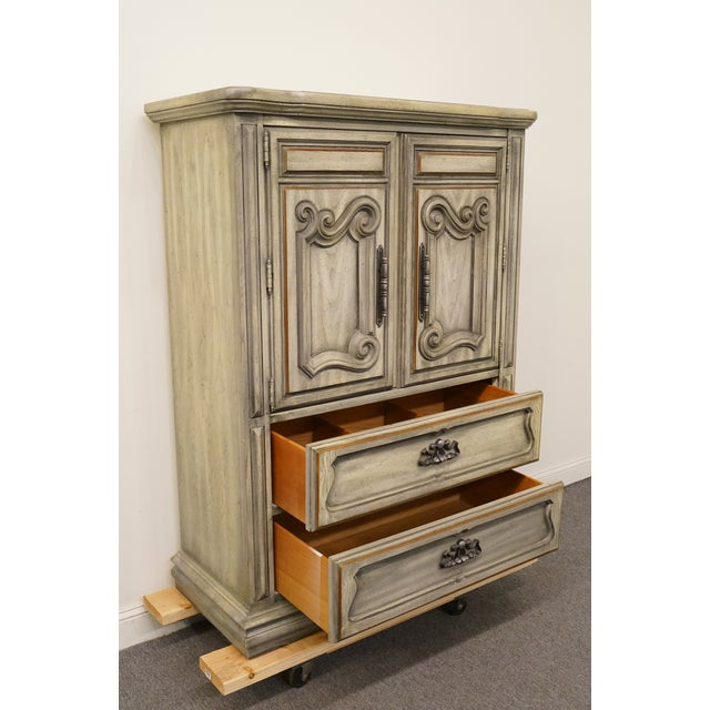 """White Stanley Furniture Italian Provincial Green Tint Finish 43"""" Door Chest / Armoire For Sale - Image 8 of 13"""