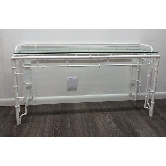 20th Century Chinoiserie Faux Bamboo Iron Glass Topped Console For Sale In West Palm - Image 6 of 6