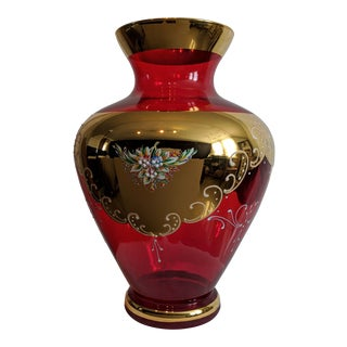 Vintage Murano 24 K. Ruby Red Vase For Sale