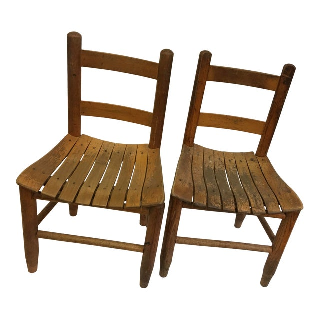 Vintage Rustic Children Chairs - a Pair For Sale