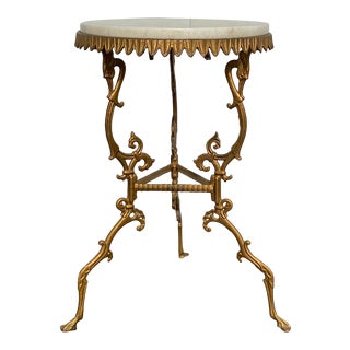 Victorian Golden Metal Cocktail Table With Stone Top For Sale