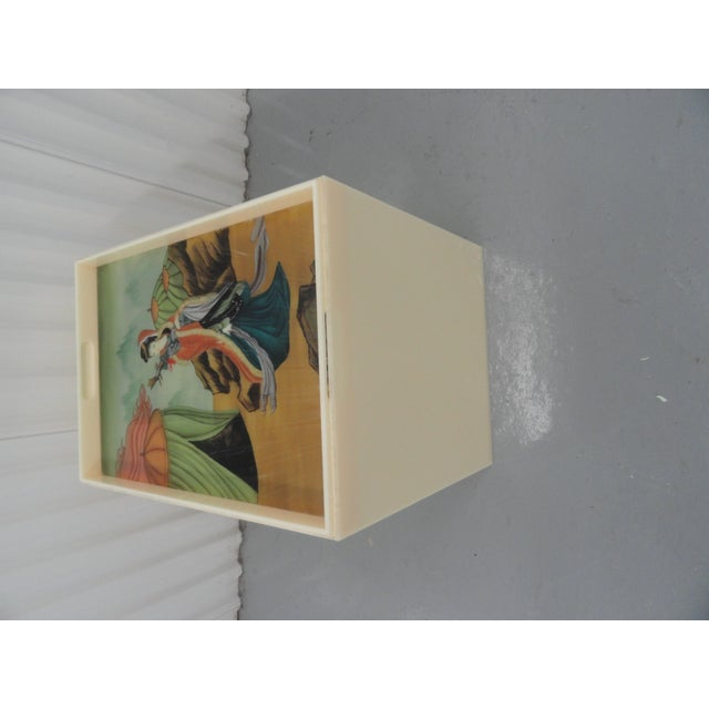 Custom Acrylic Table With Tray Top With Reverse Glass Painted Art For Sale - Image 4 of 8