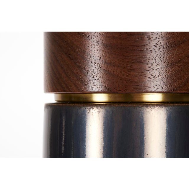 Bauer Lamp in Anthracite Glaze With Walnut Cap - a Pair For Sale In New York - Image 6 of 6