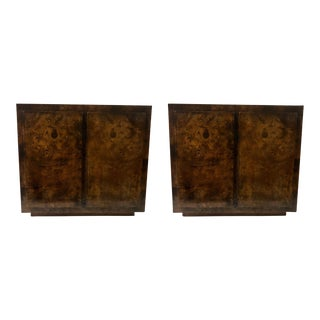 Pair of Burlwood Side Tables by John Stuart