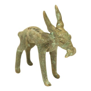 Vintage African Oxidized Impala Eating Leaf For Sale