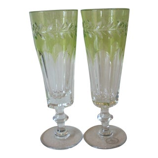 1980s Cased Crystal Champagne Flutes - a Pair For Sale