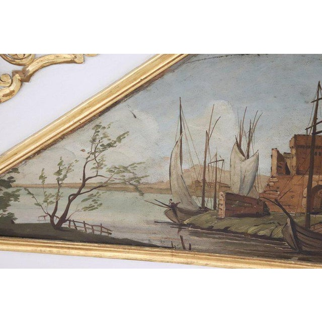 20th Century, Italian Louis XVI Style Wood Lacquered and Gilded Fireplace Mirror For Sale - Image 6 of 13
