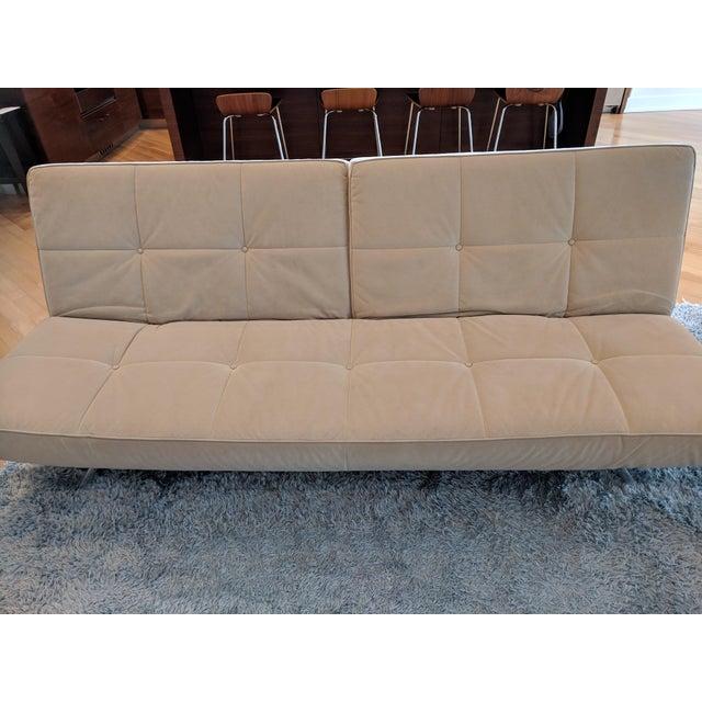 "Ligne Roset ""Smala"" sofa in beige alcantara. Adjustable Sofa Bed. Alcantara is a stain-proof, waterproof, and easy to..."