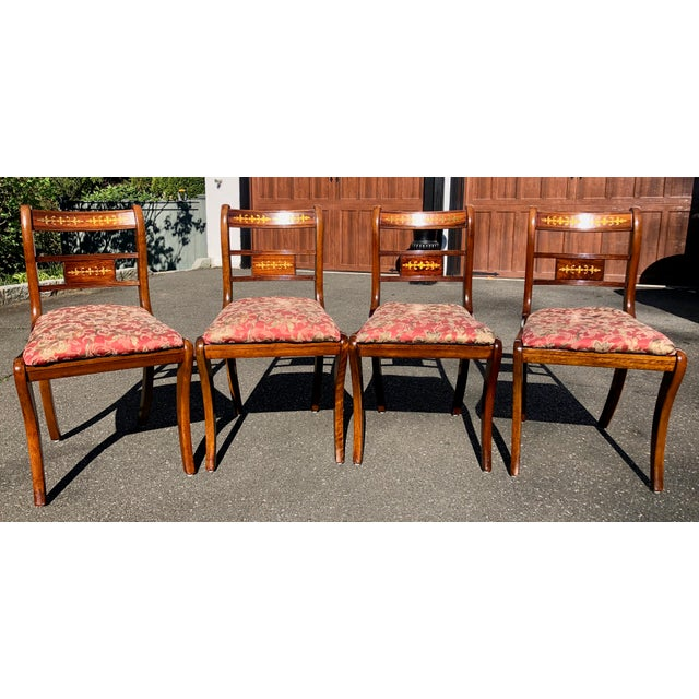 1920s Vintage English Regency Style Brass Inlaid Dining Chairs- Set of 4 For Sale - Image 13 of 13