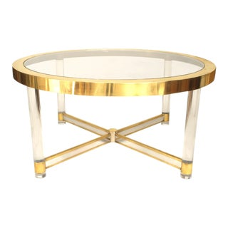 French Silver and Brass-Trimmed, Glass and Lucite Dining Table For Sale