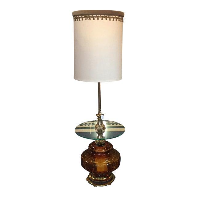 Hollywood Regency Amber Glass Floor Lamp | Chairish