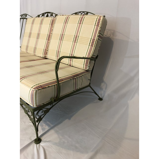 Green Vintage Woodard Style Wrought Iron Sofa For Sale - Image 8 of 12