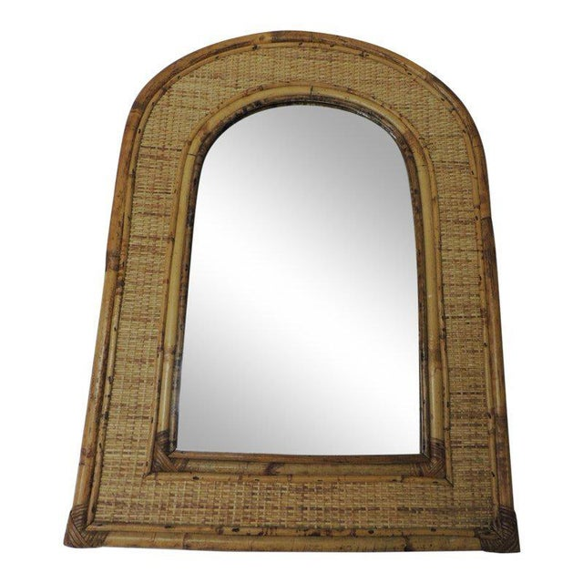Vintage Rectangular Bamboo Mirror With Rounded Top For Sale