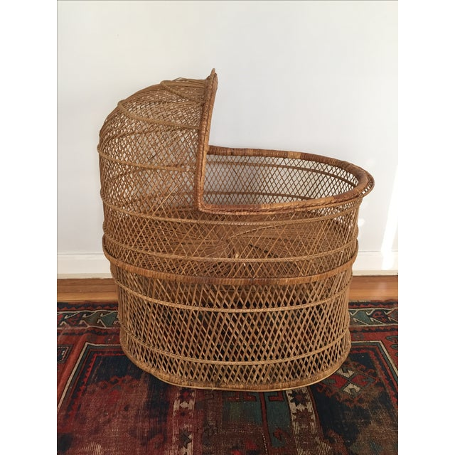 Vintage Bohemian Rattan Bassinet Crib - Image 2 of 6