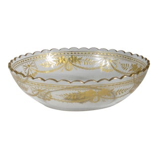 Clear With Gold Glass Serving Bowl For Sale