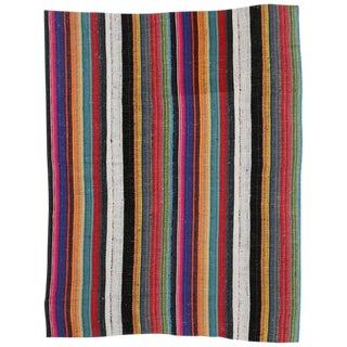"Modern Style Vintage Turkish Jajim Colorful Stripes Kilim Flatweave Rug - 5'8"" X 7'1"" For Sale"