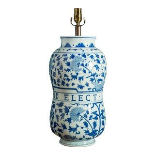 1910s Blue and White Delft Hand-Painted Antique Pharmacy Jar Lamp For Sale