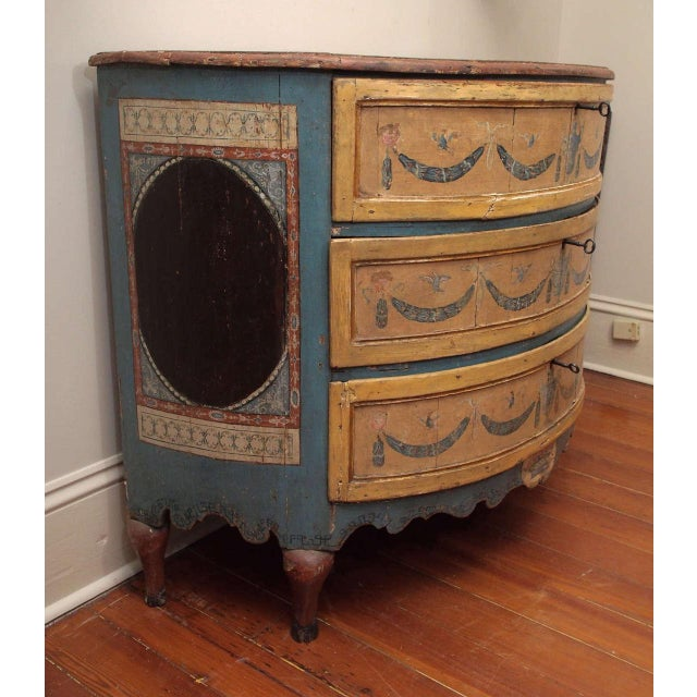 Wood Rare, 18th Century Italian Demilune Commode For Sale - Image 7 of 10