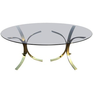 Milo Baughman Style Brass & Smoked Glass Oval Dining Table For Sale