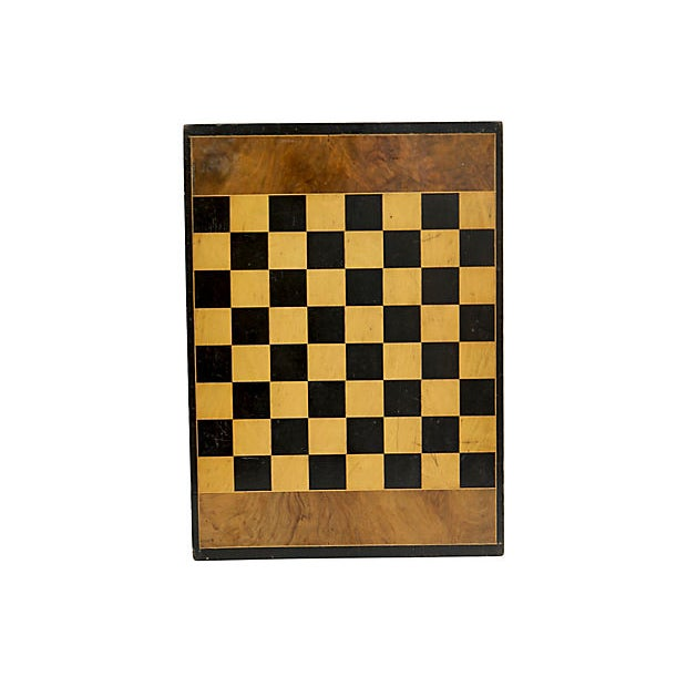 Antique handmade English double-sided game board. Checker/chess board on one side and backgammon board on the other side....