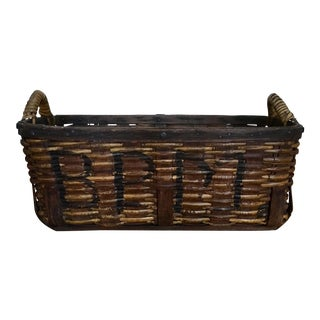 Final Markdown - Antique Primitive Handmade Basket For Sale