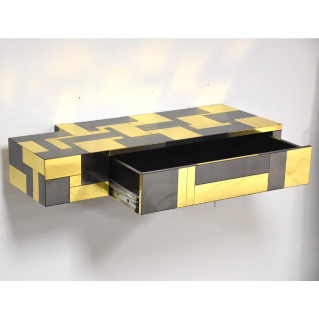Paul Evans Brass and Gunmetal Floating Console Shelf For Sale - Image 10 of 10